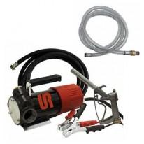 Pompe de transfert de combustible 12V dans boite de rangement + cable 4m + pistolet + flexible + clapet
