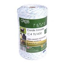 CORDON TRESSE 4MM AVEC 6 INOX 0,2 BLEU/BLANC
