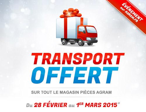 Transport offert sur tout le magasin pièces Agram
