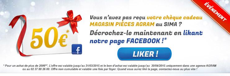 50€ offerts si vous likez notre page facebook, voir conditions