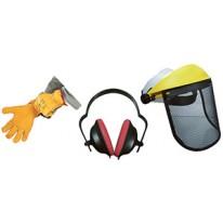 Kit de protection avec visière grillagée, gants et casque anti-bruit
