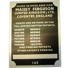 Badge numéro de série pour Massey Ferguson 165
