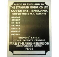 Badge Tracteur No de série FE 35