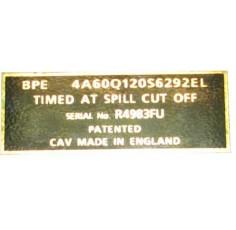 Tracteur Badge 20 D - Plaque Pompe d'injection