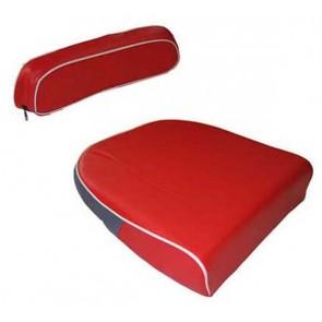 Kit coussin et dossier de siège rouge liserai blanc David Brown 770, 780, 850, 880, 950, 990