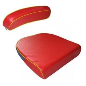 Kit coussin et dossier de siège rouge liserai jaune David Brown 770, 780, 850, 880, 950, 990
