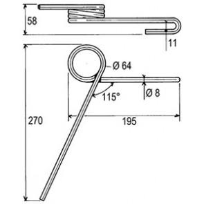 Dent ressort Adaptable AR 8 NODET FKX0385 SULKY 90