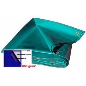 BACHE 48m2 630gr/m² COULEUR GRIS / VERT / dimension 6 x 8m
