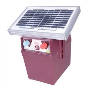 Electrificateur SOLAIRE pour clôture jusqu'à 3km -140 mJ + Batterie 12A / 12V + Capteur solaire 2W