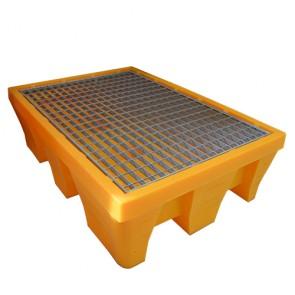 Bac de rétention rectangle caillebotis métal pour 2 Fûts 240 Litres