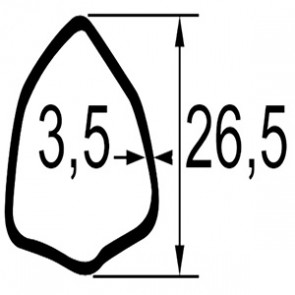 TUBE TRIANGULAIRE LG.1 METRE 26,5X3,5