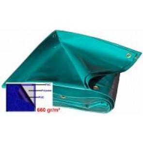 BACHE 19M² 630gr/m² COULEUR GRIS / VERT / dimension 6,3 x 3,0m