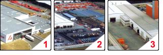 1) Photo du siège social d'Agram 2) Photo du site de production de Galucho Sintra 3) Photo de Porto, un autre site de production